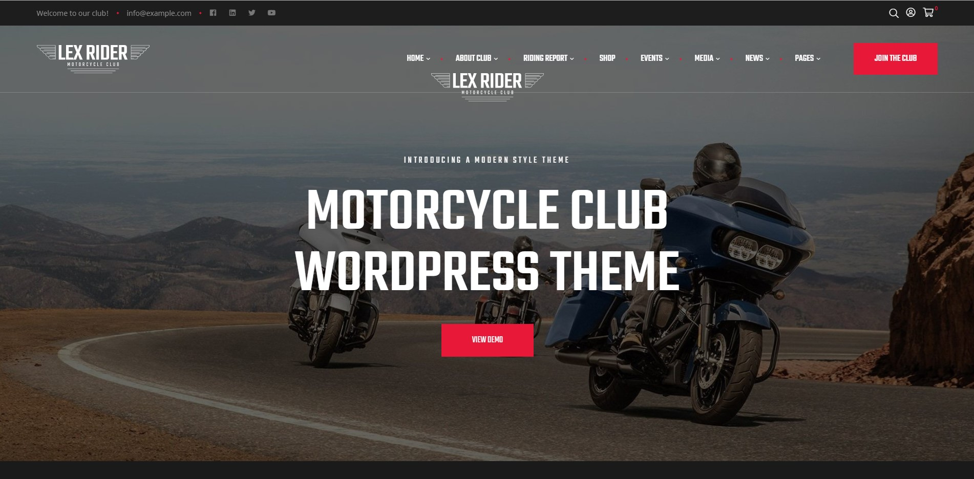 LexRider - Motorcycle Club WooCommerce WordPress Theme