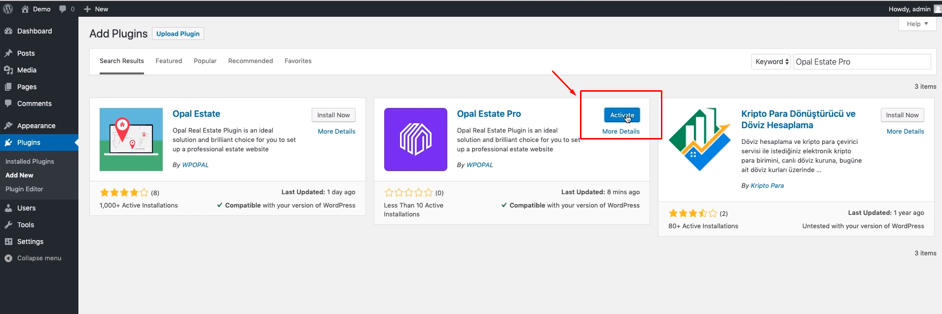 how to install opal estate pro