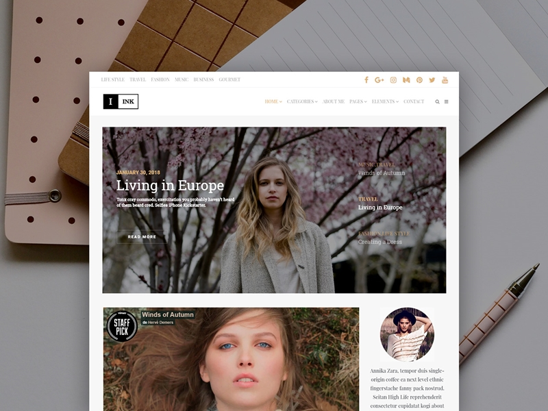 Ink Best WordPress Themes for Writers