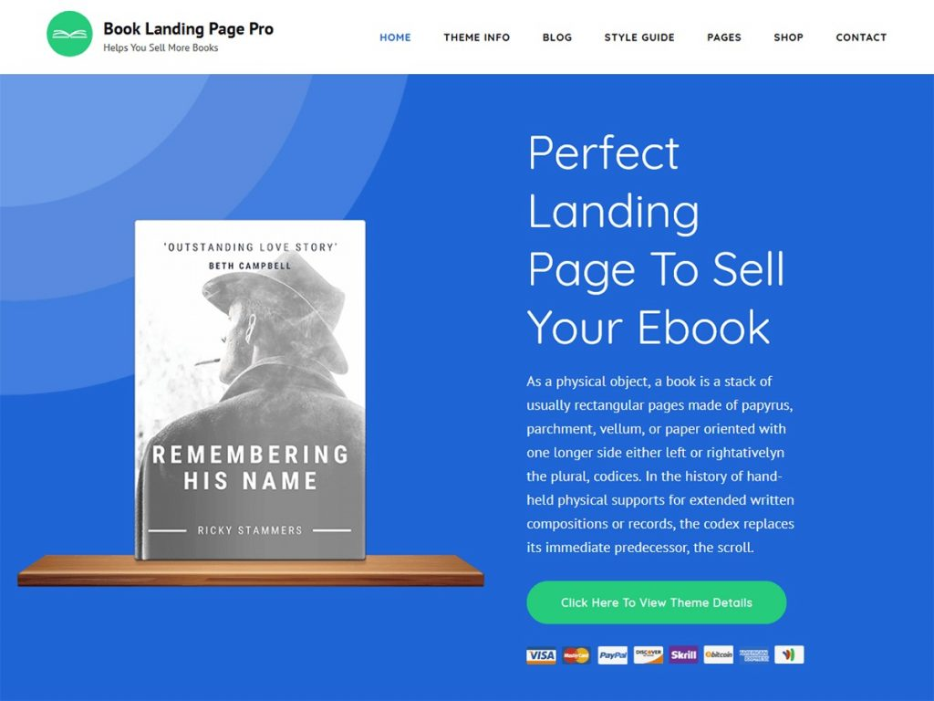 Book Landing Page Pro Best WordPress Themes for Writers